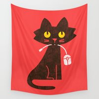 mouse Wall Tapestries featuring Fitz - Hungry hungry cat (and unfortunate mouse) by Picomodi