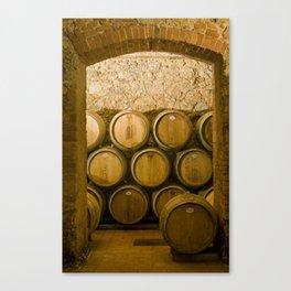 Oak Barrels in Chianti Wine Cellar, Italy Canvas Print