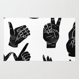 Linocut sign language black and white minimal hand symbols printmaking Rug