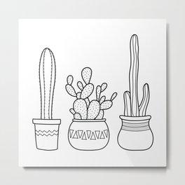 Cacti in pots illustration - black Metal Print