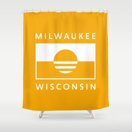 Milwaukee Wisconsin - Gold - People's Flag of Milwaukee Shower Curtain