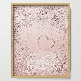 Sparkling ROSE GOLD Lady Glitter Heart #5 #decor #art #society6 Serving Tray