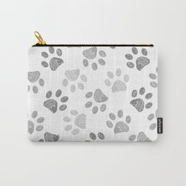 Black and grey paw print pattern Carry-All Pouch