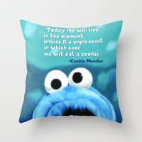 cookie monster Throw Pillows featuring Cookie Monster Motivational by Tiffany Taimoorazy