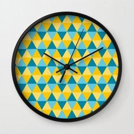 Retro Pattern Triangles Blue/Lemon Wall Clock