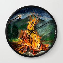 'Life Goals' Original Campfire Pastels Art - by Dark Mountain Arts Wall Clock