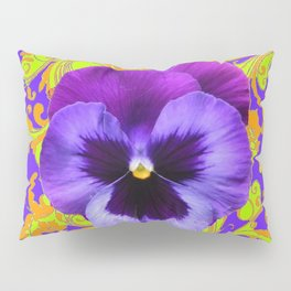 PURPLE PANSIES YELLOW BUTTERFLIES ABSTRACT FLORAL Pillow Sham
