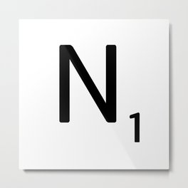 Letter N - Custom Scrabble Letter Tile Art - Scrabble N Initial Metal Print