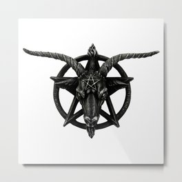 Baphomet Satanic Church Goat Head Metal Print