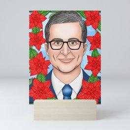 John Oliver portrait with poinsettia Mini Art Print
