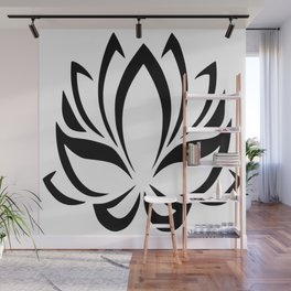 Black and White Lotus Flower Wall Mural