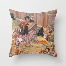 The Siege of Arbela in the Era of Hulagu Khan by Basavana - 16th Century Classical Indian Art Throw Pillow