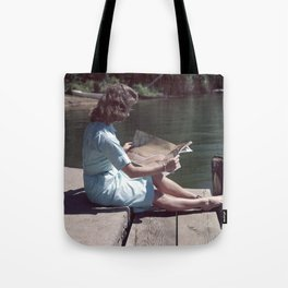 Woman Reading By The Lake (Vintage) Tote Bag