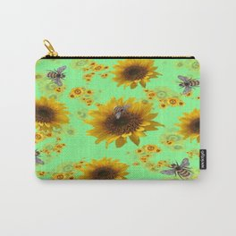Sunflowers & Bees Botanical Carry-All Pouch