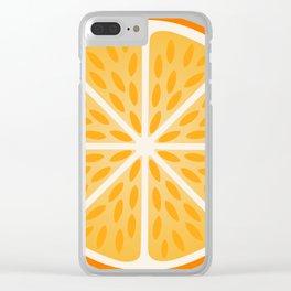 Orange slice with peel Clear iPhone Case