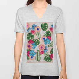 Blush Pink and Blue Watercolor Jungle Flowers Unisex V-Neck