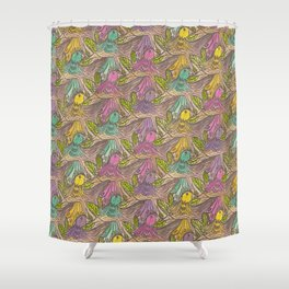Parrots Escher Style Shower Curtain