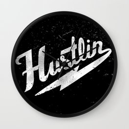 Hustlin - Black background with white image Wall Clock