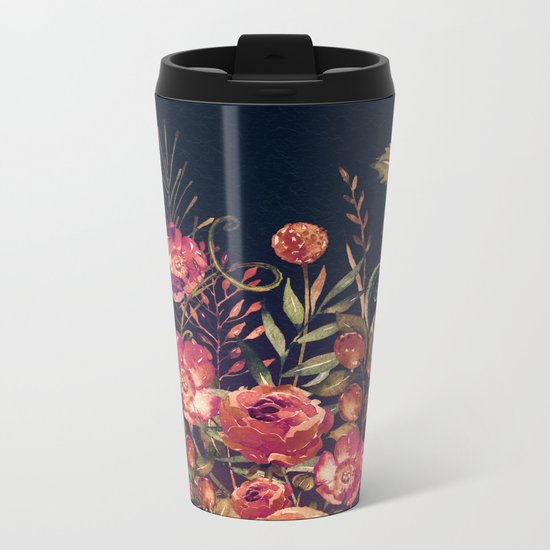 Vintage Garden 3 (Night Flowers) Metal Travel Mug