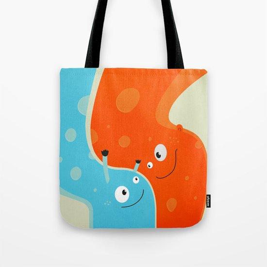 Hugging Cute Cartoon Characters Tote Bag