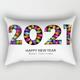 2021 text with doodle red paw print. Happy new year and merry christmas greeting card black background Rectangular Pillow