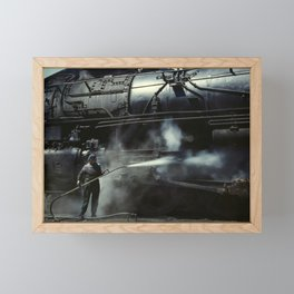 Locomotive Gets A Steam Bath - 1943 Framed Mini Art Print