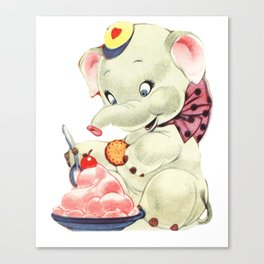 Baby Elephant eating Ice Cream Canvas Print