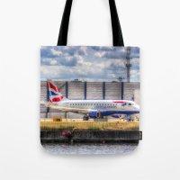 british Tote Bags featuring British Airways  by David Pyatt