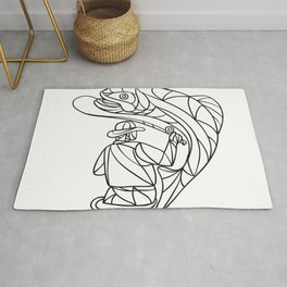 Fly Fisherman Catching Trout Mosaic Black and White Rug