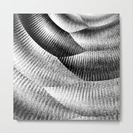 Metallic mesh texture - Black and white zigzag with abstract shimmer Metal Print