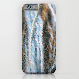 Aqua, teal, blue, rust, orange brown handspun yarn iPhone Case