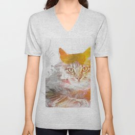 Watercolor Kitty Unisex V-Neck
