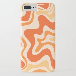 Tangerine Liquid Swirl Retro Abstract Pattern iPhone Case
