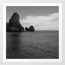 Paddleboarders In Motion, Krabi Province, Thailand Art Print