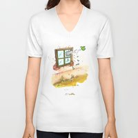 apple V-neck T-shirts featuring Apple! by Pepan