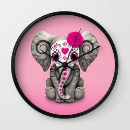 Pink Day of the Dead Sugar Skull Baby Elephant Wall Clock