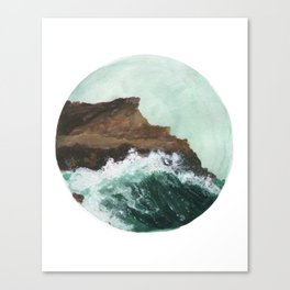 Crashing Waves on a cliff Canvas Print