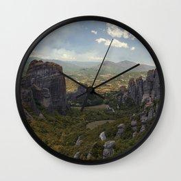 Sunny afternoon in Greek Meteora Wall Clock