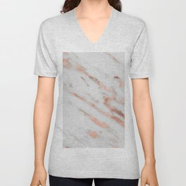 Marble - Rose Gold Marble with White Gold Foil Pattern Unisex V-Neck