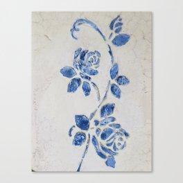 Original Art - Wedgewood Blue Roses - Raised detail & texture Canvas Print