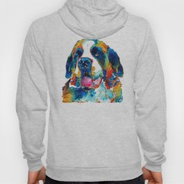 Colorful Saint Bernard Dog by Sharon Cummings Hoody