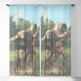 The Wrestlers by Gustave Courbet (1853) Sheer Curtain