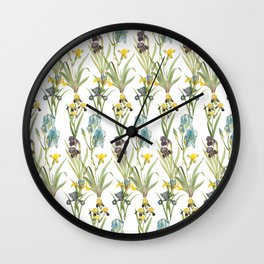 Vintage Floral Pattern | No. 2B | Iris Flowers | Irises Wall Clock