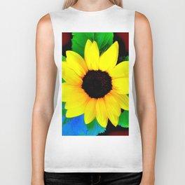 Sunflower Ilustration Yelow Green Blue Brown Summer Biker Tank