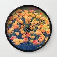 tulips Wall Clocks featuring Tulips  by Juliana RW
