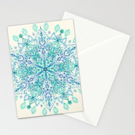 Peppermint Snowflake on Cream Stationery Cards