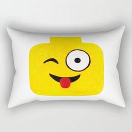 Winking Smile - Emoji Minifigure Painting Rectangular Pillow