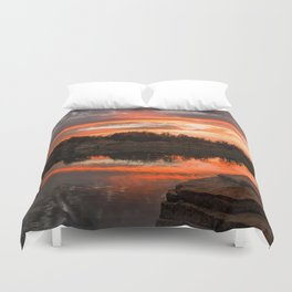 Sunset at Halibut Point Quarry Duvet Cover