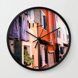Colorfull houses | Italiy Venice Caorle  Wall Clock