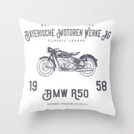 Vintage German Motorcycle T Shirt, 1958 Retro Bikers Model Throw Pillow